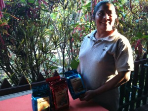 Joselinda Peréz showcases her own coffee brand, which is grown, harvested, processed by hand, and roasted on her organic farm in Honduras.